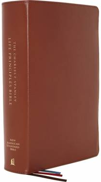 NASB Charles F. Stanley Life Principles Bible Second Edition Brown Genuine Leather 9780785226055