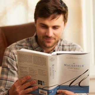 man reading NASB MacArthur Study Bible