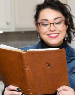 Woman reading the NKJV Spirit-Filled Life Bible
