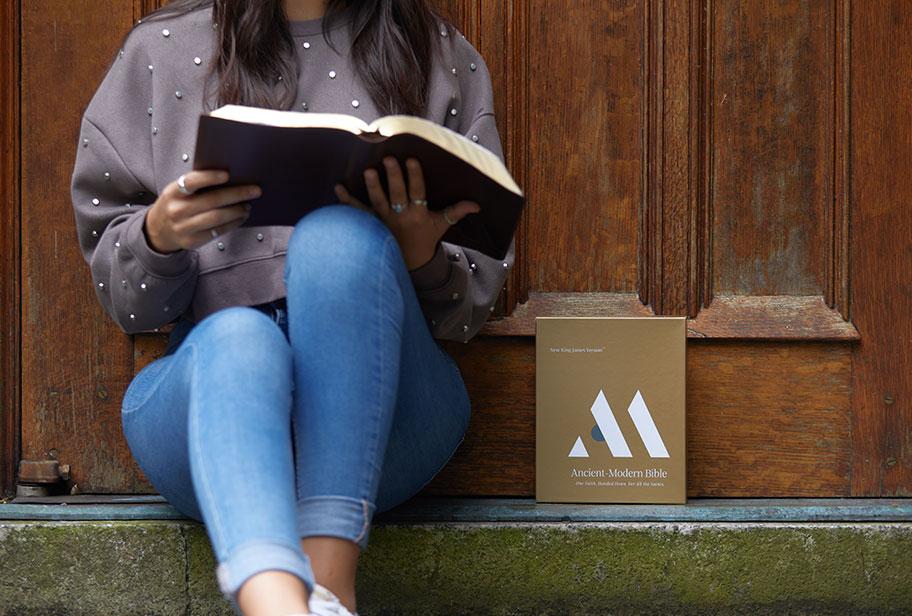 Woman reading Ancient Modern Bible