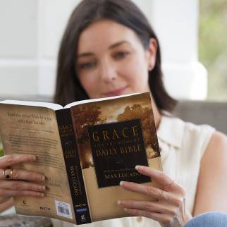 woman reading NCV Grace for the Moment Daily Bible