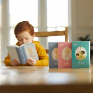 Boy reading Precious Moments Small Hands Bible