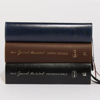 NKJV Journal the Word Reference Bible stacked Bibles